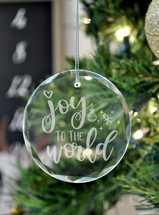Joy To The World Laser Engraved Crystal Ornament With Gift Box