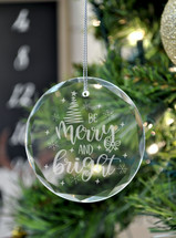 Be Merry And Bright Laser Engraved Crystal Ornament With Gift Box