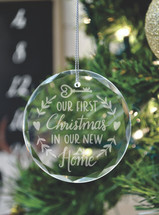 Our First Christmas In Our New Home Laser Engraved Crystal Ornament With Gift Box
