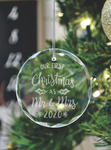 Our First Christmas As Mr. & Mrs. Laser Engraved Crystal Ornament With Gift Box