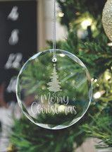 Merry Christmas Laser Engraved Crystal Ornament With Gift Box