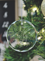 O Holy Night Laser Engraved Crystal Ornament With Gift Box