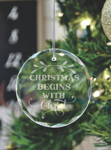 Christmas Begins With Christ Laser Engraved Crystal Ornament With Gift Box