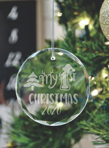 My 1st Christmas Laser Engraved Crystal Ornament With Gift Box