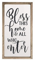 Bless This Home And All Who Enter Framed Rustic Wood Farmhouse Wall Sign