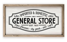 General Store Antique Design Framed Rustic Wood Farmhouse Wall Sign