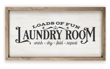 Laundry Room Loads Of Fun Framed Rustic Wood Farmhouse Wall Sign
