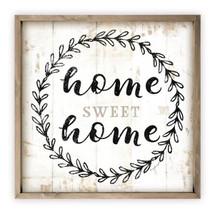 Home Sweet Home Wreath Rustic Framed Wood Wall Sign 12x12