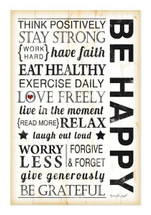 Be Happy Rustic Wood Wall Sign 12x18