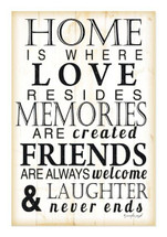 Home Is Where Love Resides Rustic Wood Wall Sign 12x18