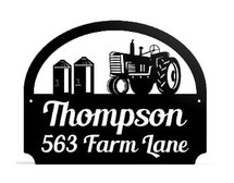 Personalized Metal Outdoor Address Sign With Tractor Scene