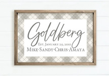 Personalized Printed Wood Family Name Sign With Argyle Design And Established Date (Framed)