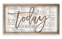 Today Is A New Day Wood Farmhouse Wall Sign