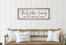 Personalized Printed Wood Family Name Sign With First Names