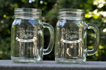 Personalized Engraved Mason Jar Mug With Banner (Sold Individually)