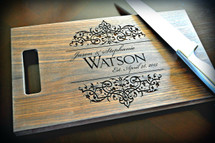 Personalized Cutting Board Laser Engraved Filigree Design (Walnut, Maple, or Cherry)