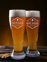 16 Ounce Personalized Engraved Pilsner Glass (Sold Individually)