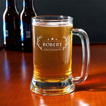 16 Ounce Personalized Engraved Beer Mug With Antler Design