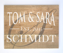 Personalized Printed Wood Family Name Sign With Established Date And Monogram Initial 16x20