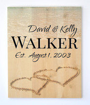 Personalized Rustic Wood Sign Beach Hearts In The Sand 16x20