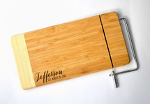 Personalized Cheese Cutting Board With Name And Date Laser Engraved Two Tone Bamboo 6x12