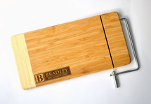 Personalized Cheese Cutting Board With Monogram Laser Engraved Two Tone Bamboo 6x12