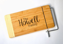 Personalized Cheese Cutting Board With Family Name Laser Engraved Two Tone Bamboo 6x12