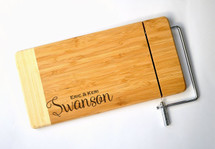 Personalized Cheese Cutting Board With Last Name Laser Engraved Two Tone Bamboo 6x12