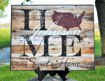 Personalized Printed Family Name Sign Home Sweet Home 12x15