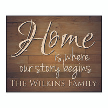 Personalized Home Is Where Our Story Begins Sign 12x15