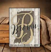 Personalized Rustic State Shape Sign 12x15
