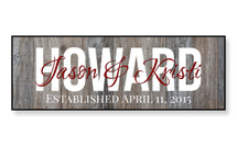 Personalized Family Name Sign with Weathered Wood Background
