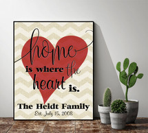 Personalized Home Is Where The Heart Is Sign 12x15