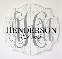 Personalized Printed Wood Family Name Sign Vine Monogram 18x20