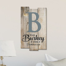 Personalized Printed Wood Family Name Sign With Established Date And Monogram 11x18