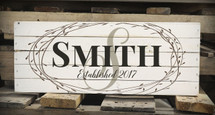 Personalized Family Name Pallet Box Sign Made with Rustic Wood and Floral Wreath Design 7.5 x 20