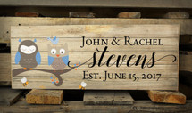 Personalized Family Name Pallet Box Sign With Owls In A Tree 7.5 x 20