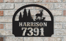 Personalized Metal Name Sign with Street Number and Deer Scene