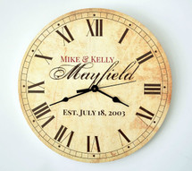 "Personalized Antique Finish Clock 13"" or 18"""