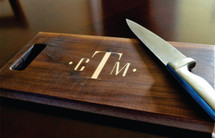 Three Letter Monogram Diamond Inlay Cutting Board