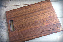 Personalized  Engraved Wood Cutting Board With Script Name (Walnut, Maple, or Cherry)