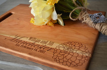 Personalize Flower Engraved Cutting Board