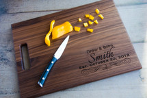 Personalized Engraved Cutting Board Corner Design