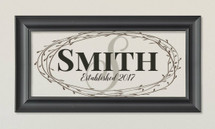 Personalized Family Glass Frame With Floral Wreath