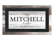 Personalized Printed Wood Framed Family Name Sign 12x20