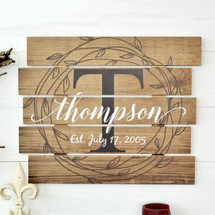 Personalized Family Name Sign Rustic Pallet Wood Monogram 15x18