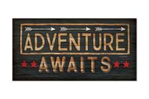 Adventure Awaits Rustic Wood Wall Sign 9x18
