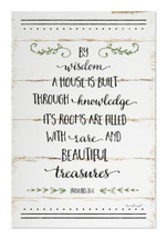 By Wisdom A House Is Built Rustic Wood Sign 12x18