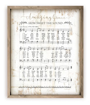 Amazing Grace Sheet Music Rustic Wood Wall Sign