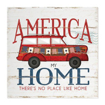 America My Home Rustic Wall Sign 12x12